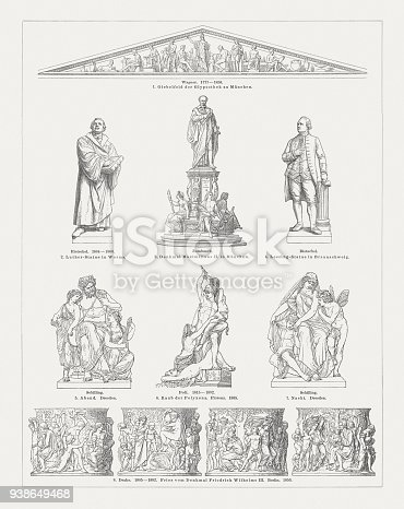European sculpture art in the 19th century: 1) Relief from the Pediment of the Glyptothek in Munich, Germany by Johann Martin von Wagner (German sculptor, 1777 - 1858); 2) Luther Monument (1861/67) by Ernst Rietschel (German sculptor, 1804 - 1861), Worms; 3) Monument to Maximilian II of Bavaria (1866) by Caspar von Zumbusch (German sculptor, 1830 - 1915), Munich; 4) Lessing Monument (1849/53) by Ernst Rietschel (German sculptor, 1804 - 1861), Braunschweig; 5) Evening, sculpture by Johannes Schilling (German sculptor, 1828 - 1910), Brühl's Terrace, Dresden; 6) Rape of the Polyxena, sculpture (1865) by Pio Fedi (Italian sculptor, 1815 - 1892), Loggia dei Lanzi, Florence; 7) Night, sculpture by Johannes Schilling (German sculptor, 1828 - 1910), Brühl's Terrace, Dresden; 8) Details from the monument of King Frederick William III of Prussia by Friedrich Drake (German sculptor, 1805 - 1882), Tiergarten Berlin, Berlin. Wood engravings, published in 1897.