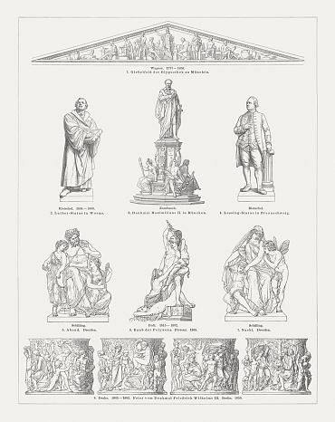 European Sculpture Art 19th Century Wood Engravings
