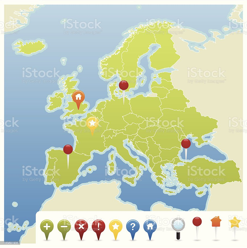 European Union GPS Map Icons royalty-free stock vector art