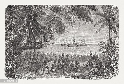 First encounters between the Europeans and the natives on the American coast. Wood engraving, published in 1888.