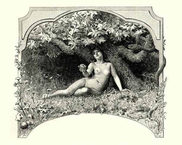 eve and the apple in the garden of eden - adults only stock illustrations