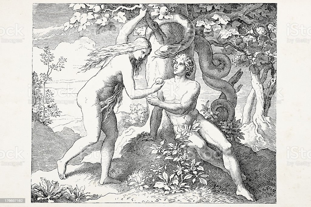 Eve offering apple to Adam in garden Eden royalty-free eve offering apple to adam in garden eden stock vector art & more images of 19th century