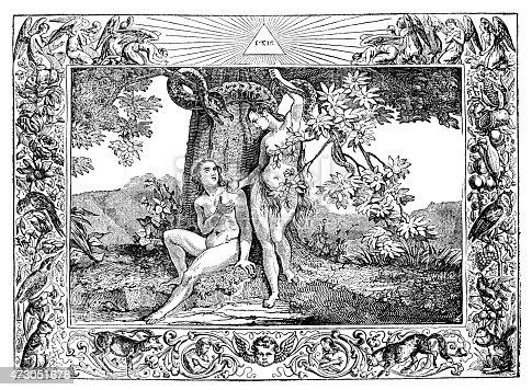 Steel engraving of Eve offering apple to Adam in garden Eden