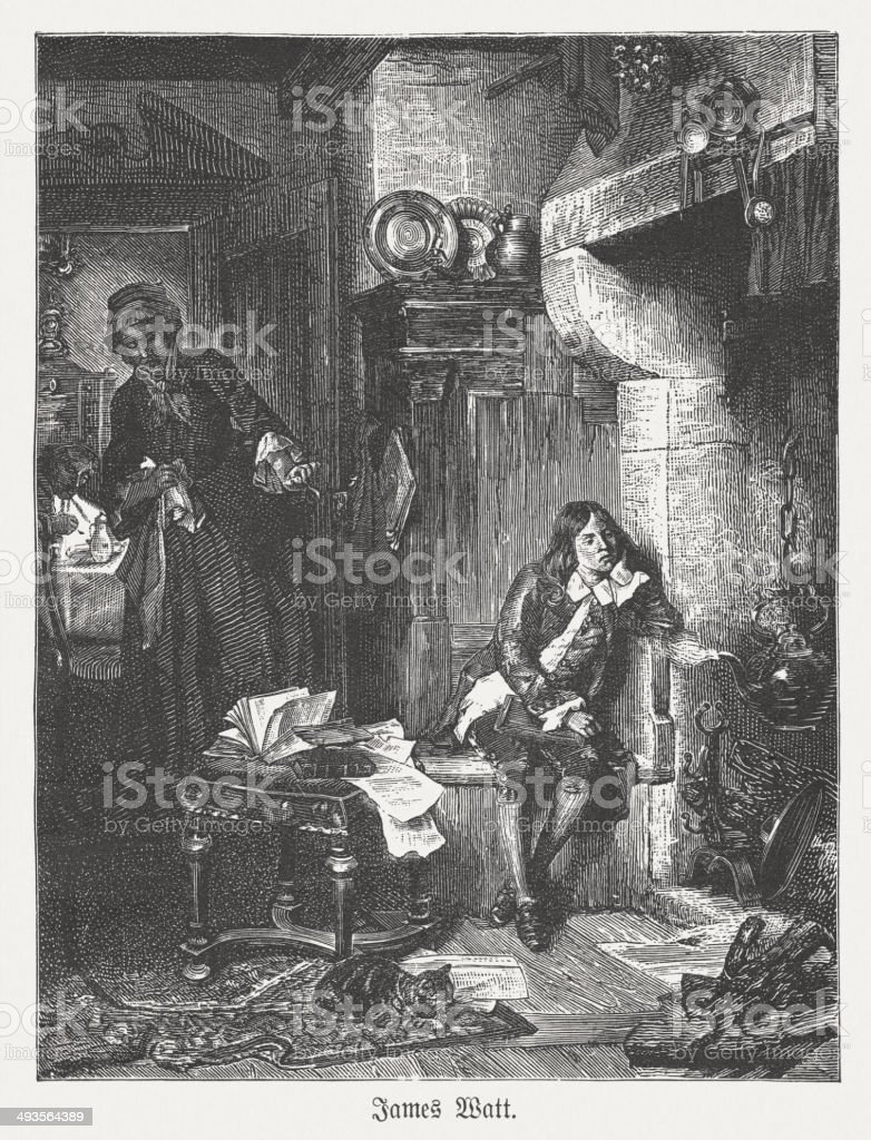 Even as boy studied James Watt, the effect of steam vector art illustration