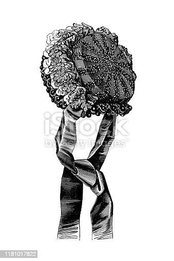 Illustration of a Evening Capote hat ,fashion of 19th century