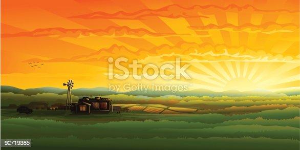 istock Evening countryside panorama - farm, field and wind turbine 92719385