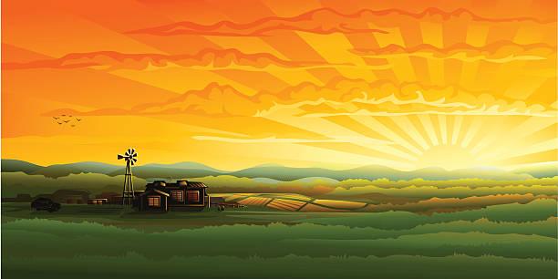 wieczorna panorama wsi-farm, pola i wiatr turbiny - zachód słońca stock illustrations
