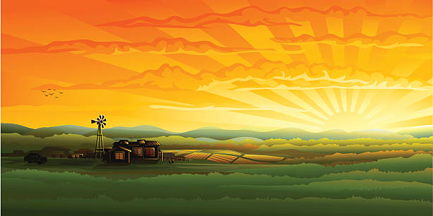 stockillustraties, clipart, cartoons en iconen met evening countryside panorama - farm, field and wind turbine - grassenfamilie