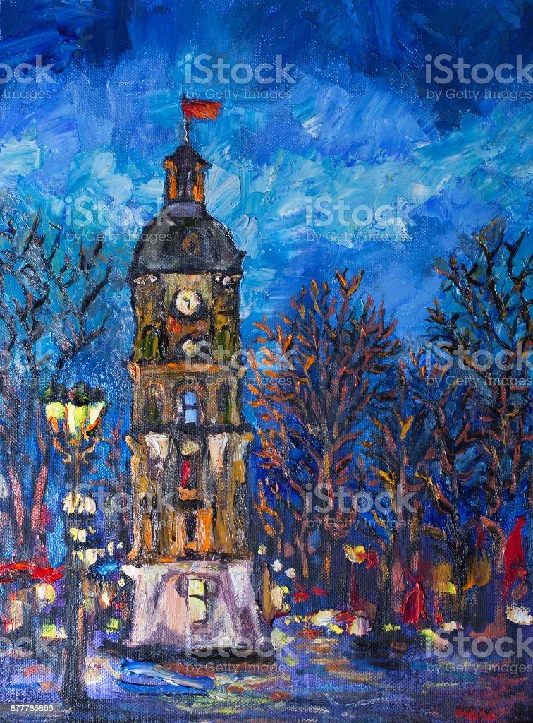 Evening landscape of a festive square vector art illustration