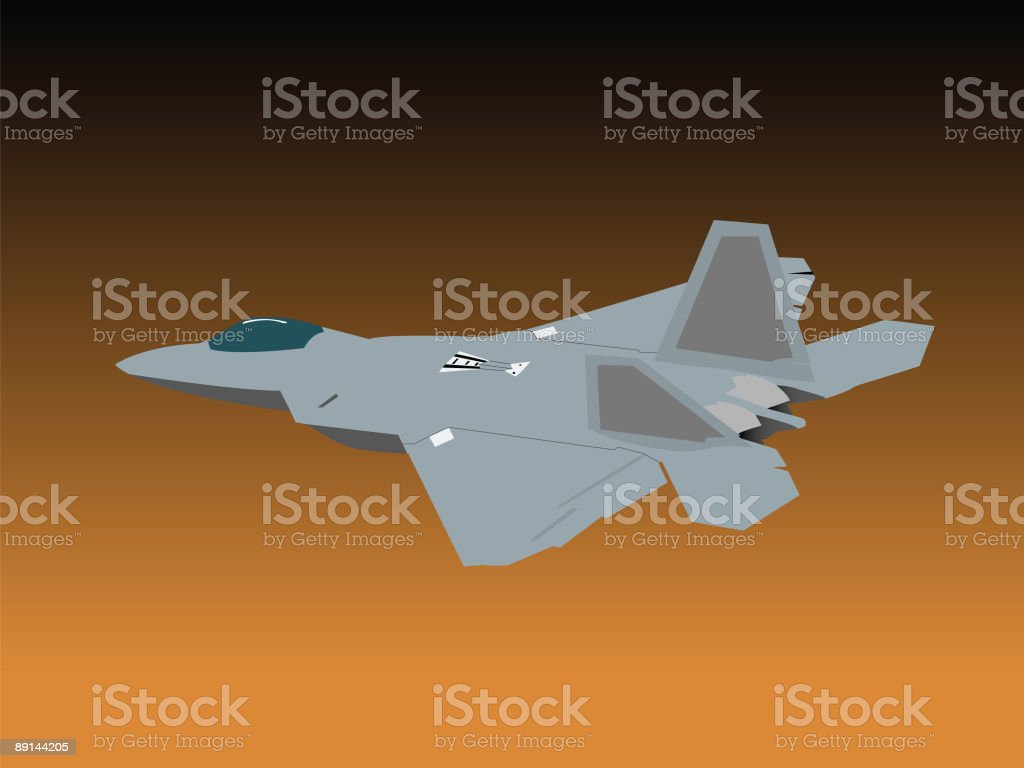 Evening  Tactical Fighter Jet royalty-free stock vector art