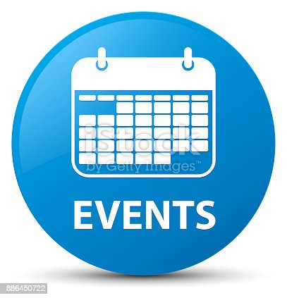 Events (calendar icon) isolated on cyan blue round button abstract illustration