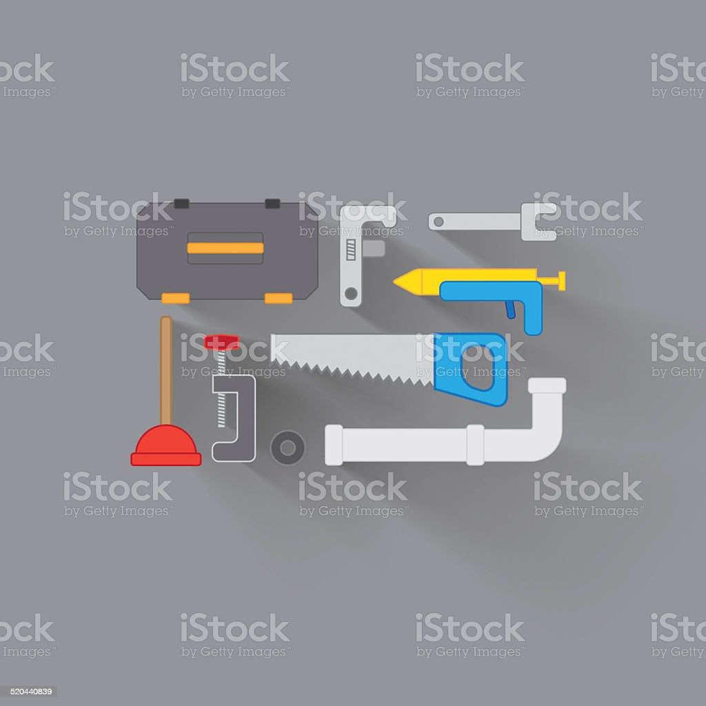 Everything you need for home improvement vector art illustration