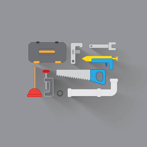 Everything you need for home improvement A vector image of home improvement tools pipefitter illustrations stock illustrations