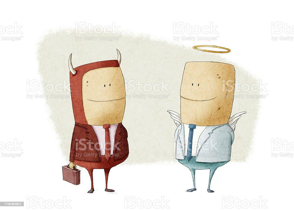 evil businessman and angel vector art illustration