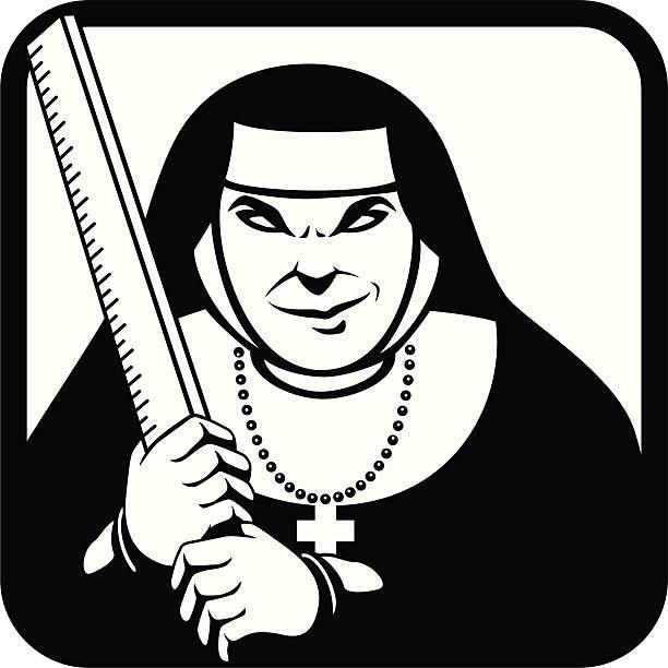 ilustraciones, imágenes clip art, dibujos animados e iconos de stock de mal monja - hermana