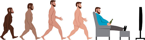 Evolution of man man evolves from apes to sit and watch television with a beer. devolve stock illustrations