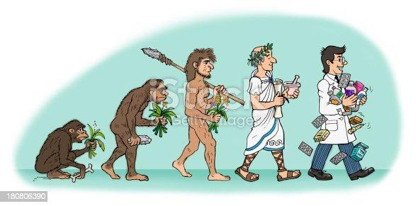 Comic Illustration of a evolution of the Pharmacist Man.
