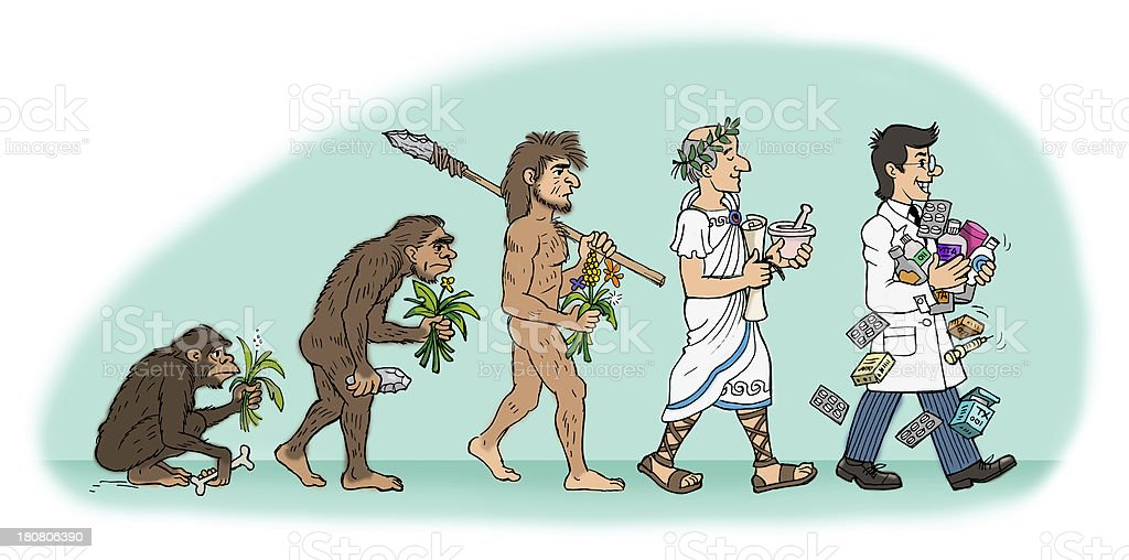 Evolution Of Pharmacist Man vector art illustration