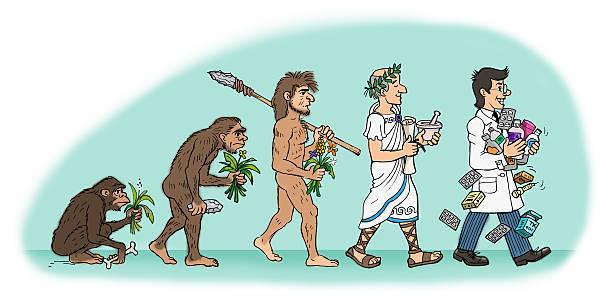 Evolución del farmacéutico hombre - ilustración de arte vectorial