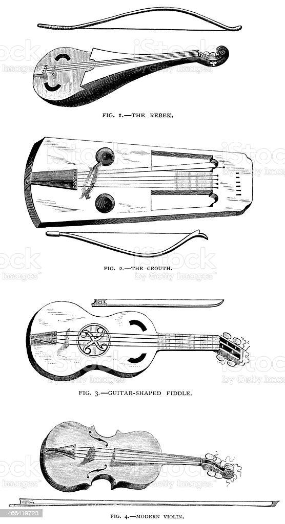 Evolution of the Violin - Victorian Illustration vector art illustration
