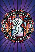 Illustration of pop-art stained glass rose window featuring Jesus Christ seated on a throne