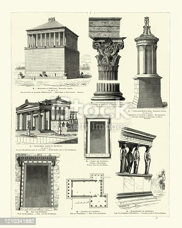 Vintage engraving of Examples of Ancient Classical architecture. Mausoleum at Halicarnassus, one of Seven Wonders of the Ancient World. Column and capital. Choragic Monument of Lysicrates. The Erechtheion or Erechtheum. Caryatide porch of the Erechtheum
