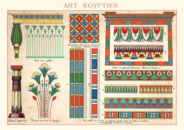 Examples of Ancient Egytian Art Ornamentation Vintage engraving of Examples of Ancient Egytian Art Ornamentation. In architecture and decorative art, ornament is a decoration used to embellish parts of a building or object. ancient egyptian culture stock illustrations