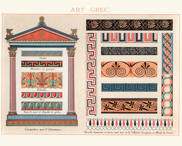Examples of Ancient Greek Classical Decorative Design Vintage colour lithograph of Examples of Ancient Greek Classical Decorative Design greco roman style stock illustrations