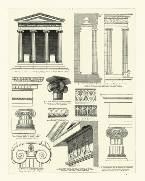 Examples of Classical architecture, Temple of Victory, Athens vector art illustration