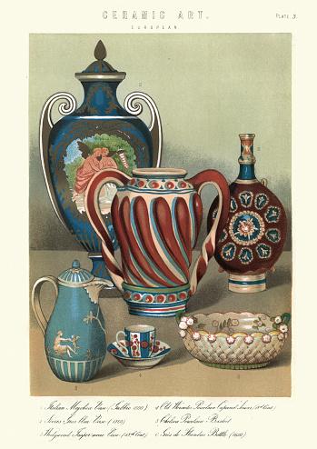 Vintage engraving of Examples of European ceramic art, Vases, tea cup, bowl. Italian Majolica vase, Wedgewood Jasperware case, Worcester porcelain, Chelsea porcelain, Gres de Flanders bottle