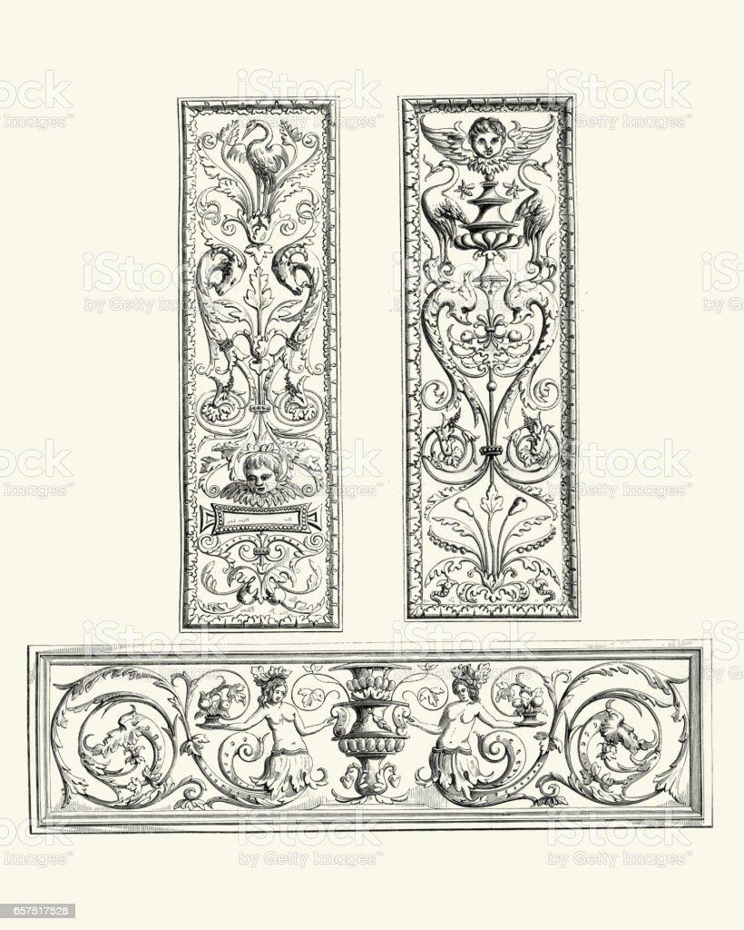 Examples of Flemish renaissance oak panels 16th Centuryvectorkunst illustratie