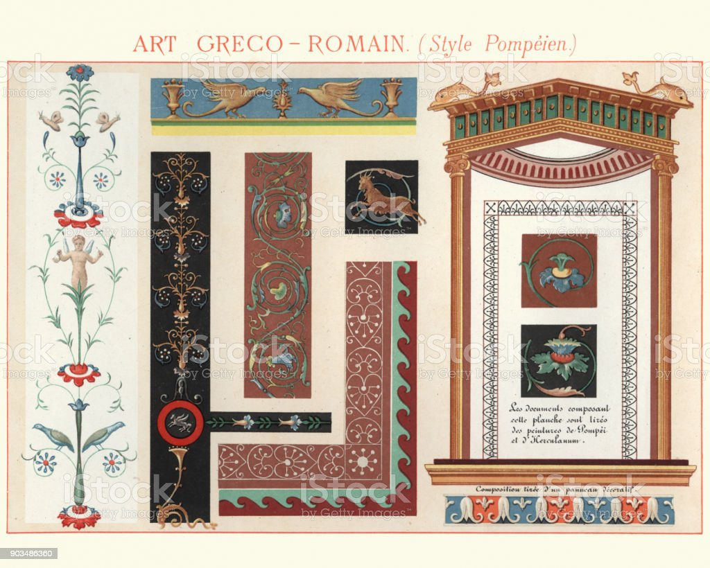 Examples of Greco Roman Decorative Design Pompeii Style vector art illustration