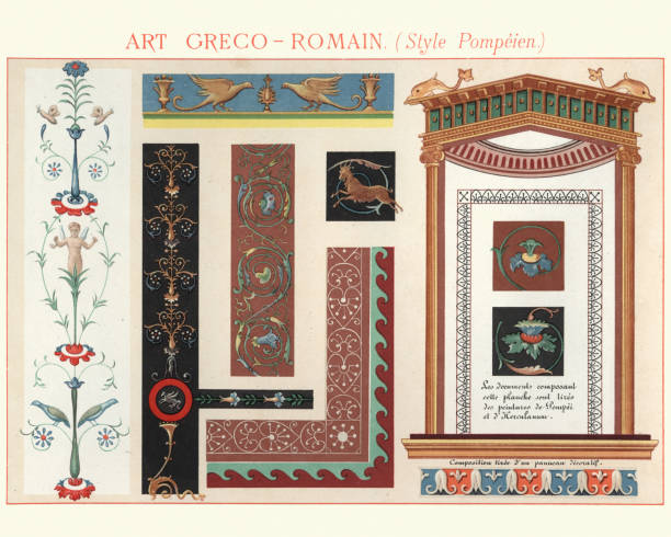 Examples of Greco Roman Decorative Design Pompeii Style Vintage colour lithograph of Examples of Greco Roman Decorative Design Pompeii Style greco roman style stock illustrations