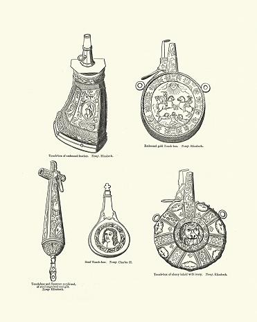 Examples of Gunpowder primers, flasks, 17th Century