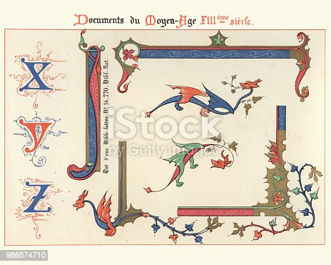 Vintage engraving of Examples of Medieval decorative art 13th Century