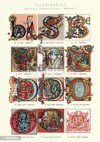 Vintage engraving of Examples of medieval illuminated capital letters