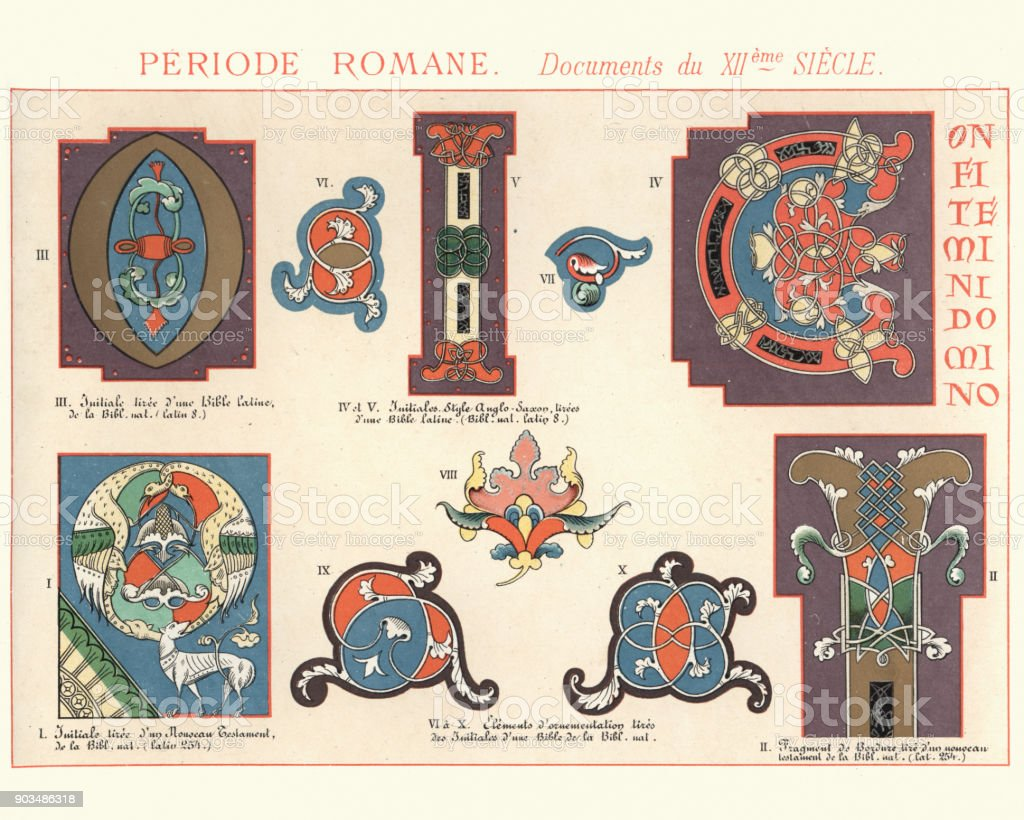 Examples of Medieval Romanesque Decorative Design 12th Century vector art illustration