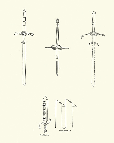 Examples of two handed medieval swords and sword breaker, 16th Century
