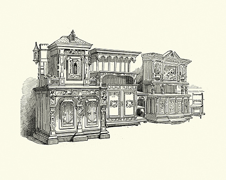 Examples of Victorian furniture, cabinet, 1890s, 19th Century