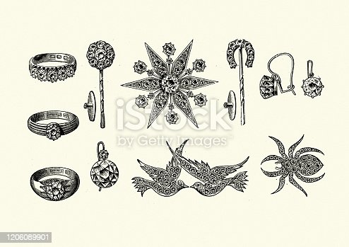 istock Examples of Victorian jewelry, rings, brooch, Earring 1890s 1206089901