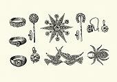 Vintage engraving of Examples of victorian jewellery, rings, brooch, Earring 1890s