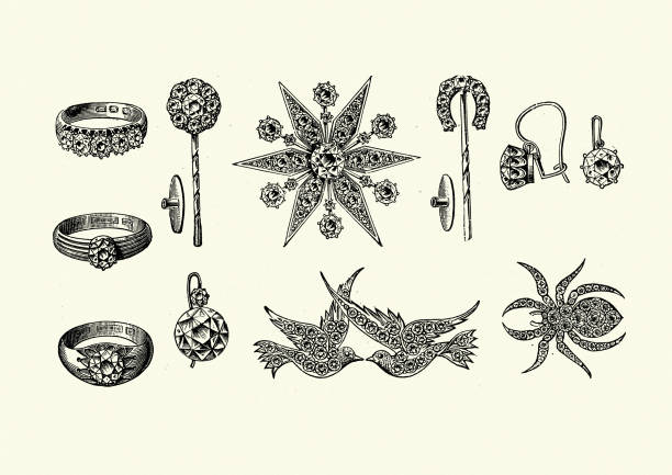 Examples of Victorian jewelry, rings, brooch, Earring 1890s vector art illustration