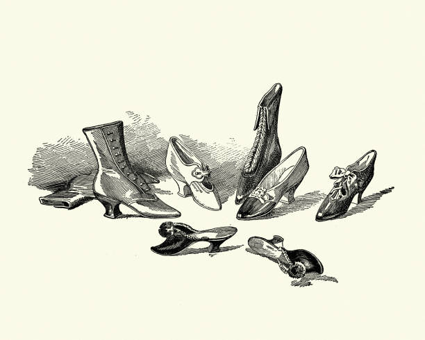 Examples of Victorian womens footwear, Boots, Shoes, Slip-ons, 19th Century vector art illustration