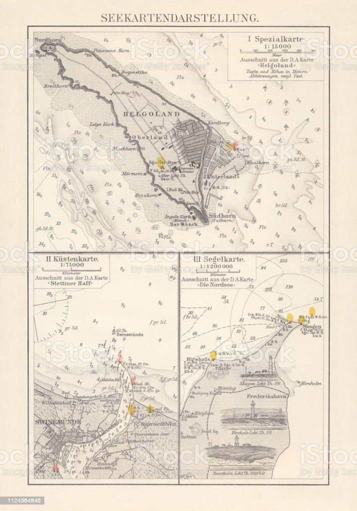 Excerpts Of Nautical Charts Lithograph Published In 1897
