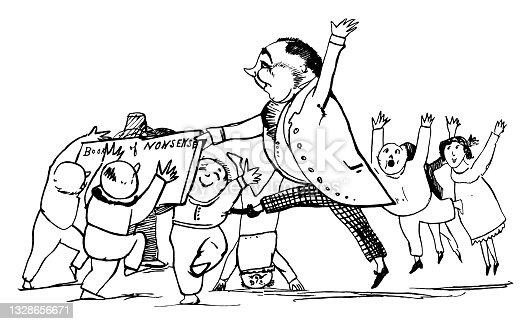 istock Excited people with a book and a giant Edward Lear 1328656671