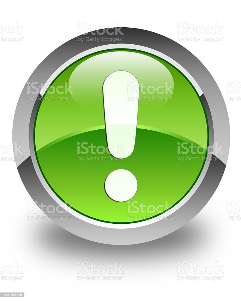 Exclamation mark icon glossy green round button vector art illustration