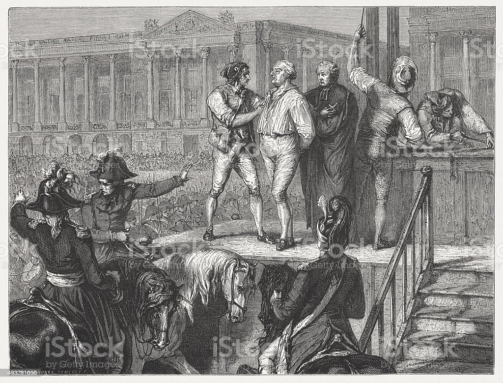 Execution of French king Louis XVI (1754-1793), published in 1871 vector art illustration