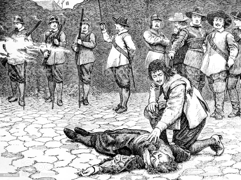 Execution of Sir Charles Lucas - English Civil War vector art illustration