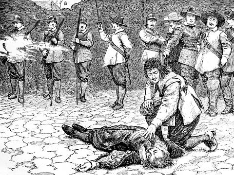 サー チャールズ ルーカス イングランド内戦の実行 - 17世紀のベクター ...