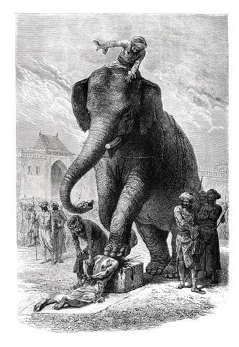 Execution through an elephant at Baroda India 1871